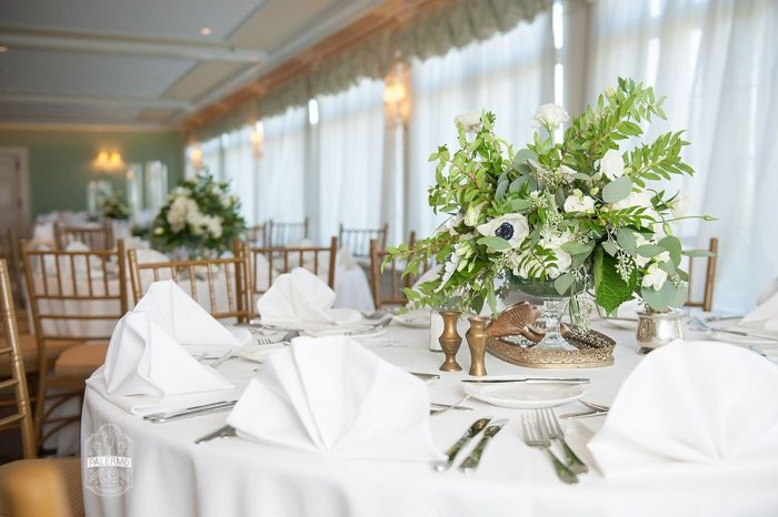 Green and White Wedding Centerpieces: Modern Garden Inspired Wedding at the Pittsburgh Golf Club from Palermo Photography featured on Burgh Brides
