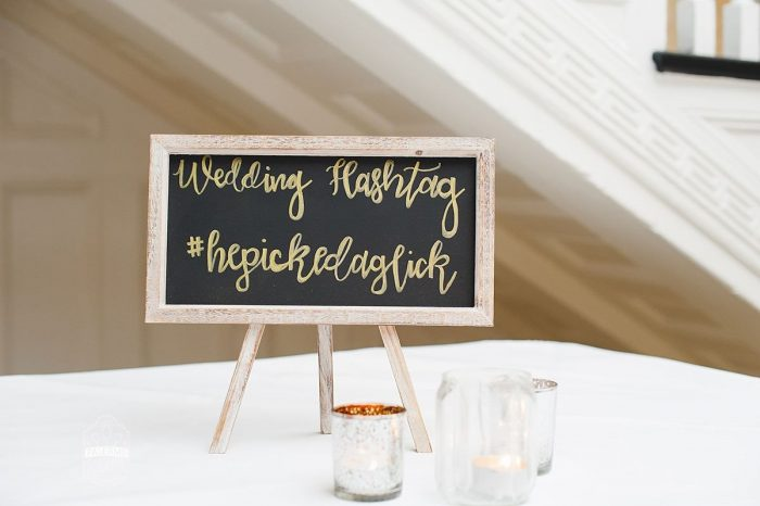 Wedding Hashtag Sign: Modern Garden Inspired Wedding at the Pittsburgh Golf Club from Palermo Photography featured on Burgh Brides