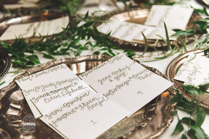 Gold Calligraphy Wedding Escort Cards: Modern Garden Inspired Wedding at the Pittsburgh Golf Club from Palermo Photography featured on Burgh Brides