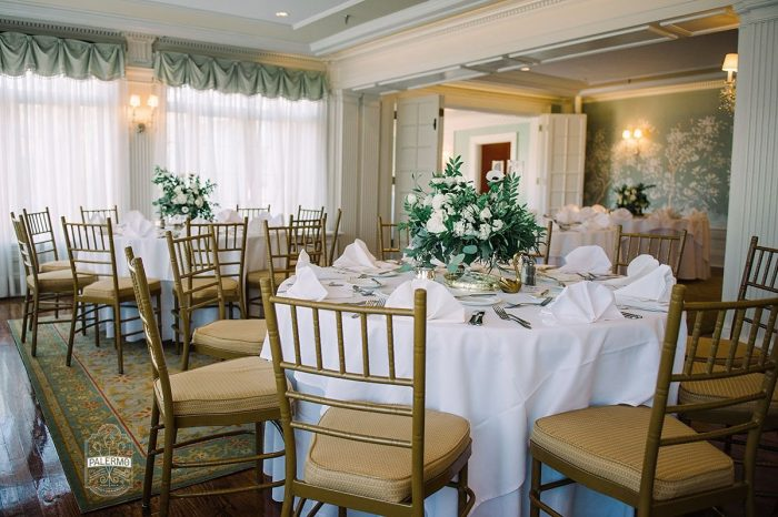 White and Green Wedding Centerpieces: Modern Garden Inspired Wedding at the Pittsburgh Golf Club from Palermo Photography featured on Burgh Brides