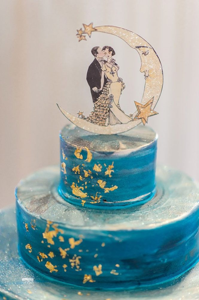 Hand Painted Gold Leaf Wedding Cake: Modern Garden Inspired Wedding at the Pittsburgh Golf Club from Palermo Photography featured on Burgh Brides