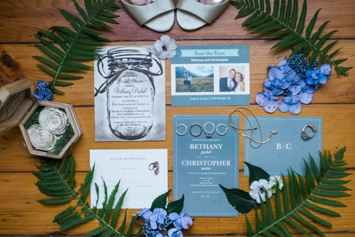 Simple Blue Wedding Invitations and Mason Jar Save the Dates: Vintage Rustic Wedding at Shady Elms Farm from Steven Dray Images featured on Burgh Brides