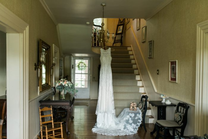 High Neck Lace Wedding Dress: Vintage Rustic Wedding at Shady Elms Farm from Steven Dray Images featured on Burgh Brides