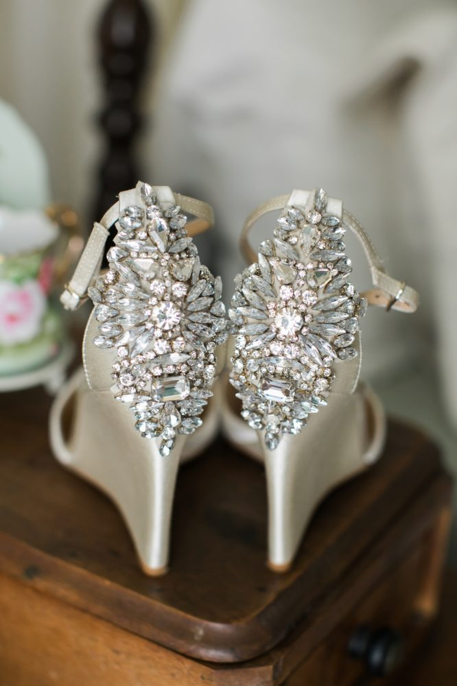 Beaded Badgley Mischka Wedding Shoes: Vintage Rustic Wedding at Shady Elms Farm from Steven Dray Images featured on Burgh Brides