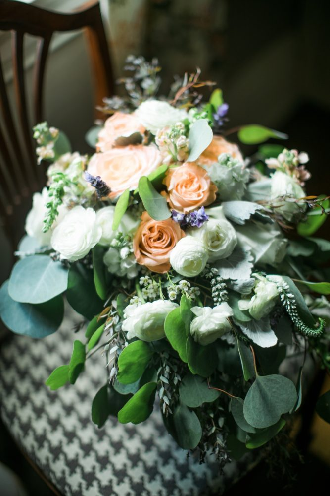 Peach and White Bridal Bouquet: Vintage Rustic Wedding at Shady Elms Farm from Steven Dray Images featured on Burgh Brides