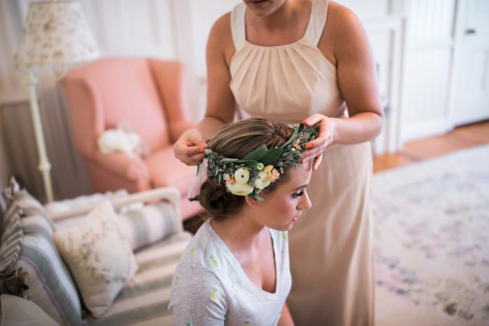 Bridal Flower Crown: Vintage Rustic Wedding at Shady Elms Farm from Steven Dray Images featured on Burgh Brides