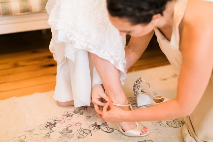 Beaded Wedding Badgley Mischka Wedding Shoes: Vintage Rustic Wedding at Shady Elms Farm from Steven Dray Images featured on Burgh Brides