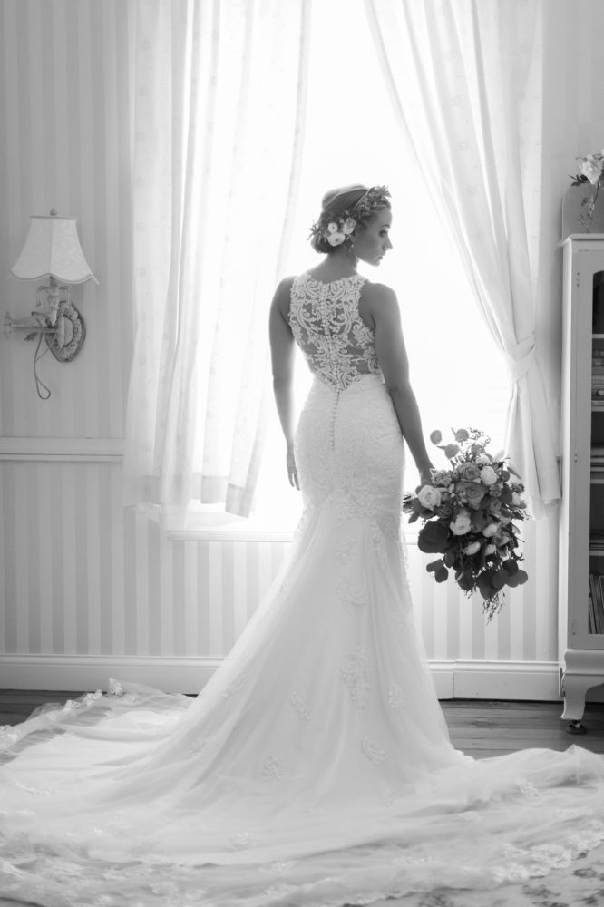 Lace Back Wedding Dress: Vintage Rustic Wedding at Shady Elms Farm from Steven Dray Images featured on Burgh Brides