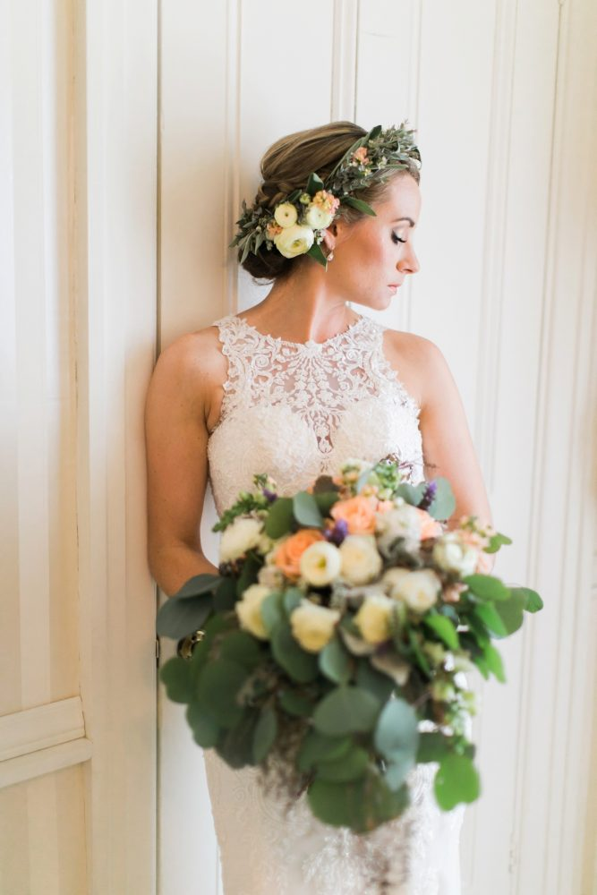 Peach and White Wedding Bouquet: Vintage Rustic Wedding at Shady Elms Farm from Steven Dray Images featured on Burgh Brides