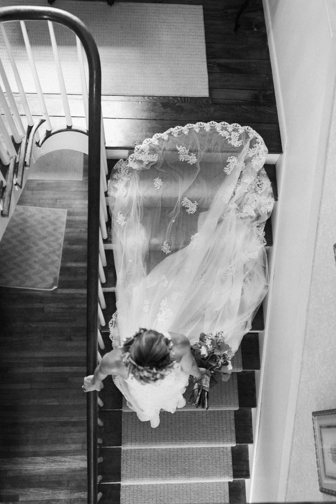 Lace Wedding Dress Train: Vintage Rustic Wedding at Shady Elms Farm from Steven Dray Images featured on Burgh Brides