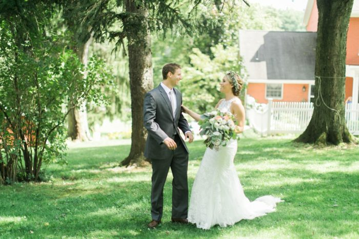 Bride and Groom First Look: Vintage Rustic Wedding at Shady Elms Farm from Steven Dray Images featured on Burgh Brides