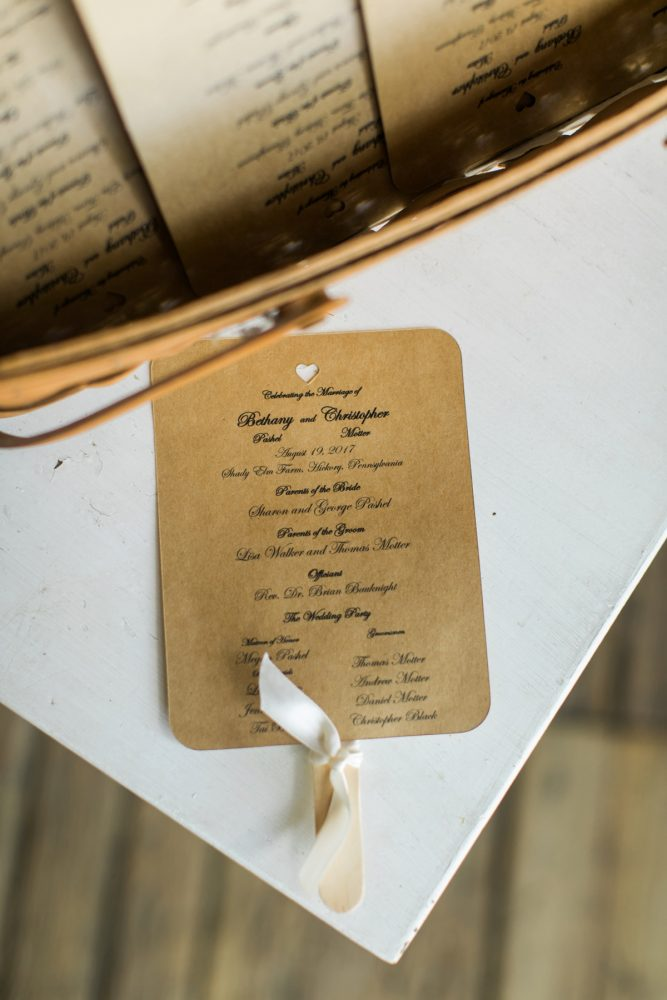 Kraft Paper Wedding Ceremony Programs: Vintage Rustic Wedding at Shady Elms Farm from Steven Dray Images featured on Burgh Brides