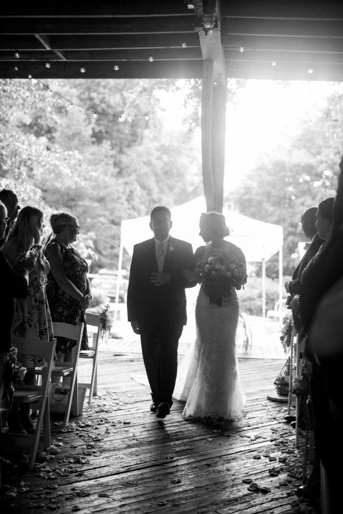 Bride Walking Down Aisle: Vintage Rustic Wedding at Shady Elms Farm from Steven Dray Images featured on Burgh Brides