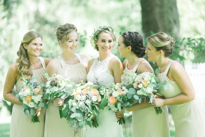 Nude Bridesmaids Dresses: Vintage Rustic Wedding at Shady Elms Farm from Steven Dray Images featured on Burgh Brides