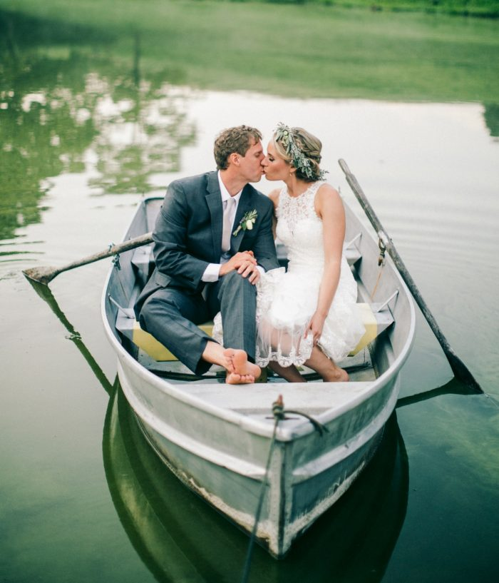Row Boat Wedding Portraits: Vintage Rustic Wedding at Shady Elms Farm from Steven Dray Images featured on Burgh Brides