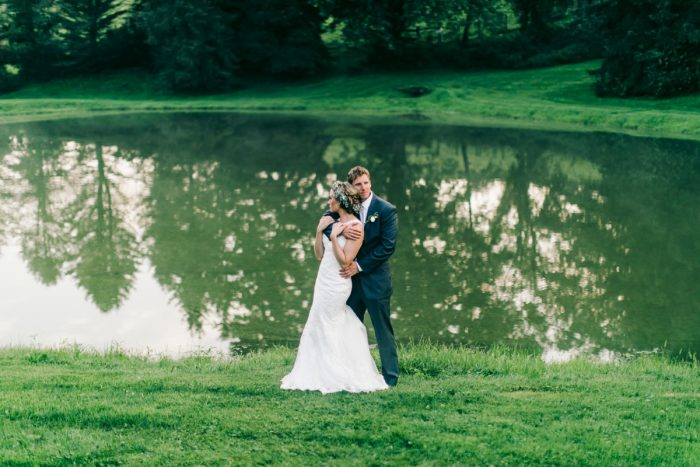 Lakeside Wedding Portraits: Vintage Rustic Wedding at Shady Elms Farm from Steven Dray Images featured on Burgh Brides