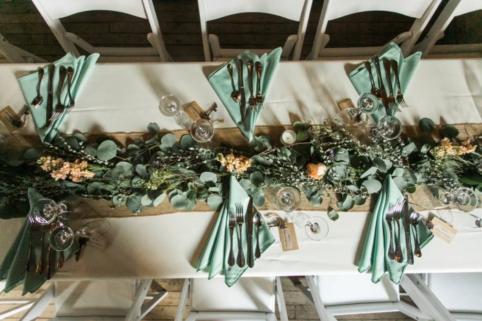 Fresh Greenery Table Runners: Vintage Rustic Wedding at Shady Elms Farm from Steven Dray Images featured on Burgh Brides