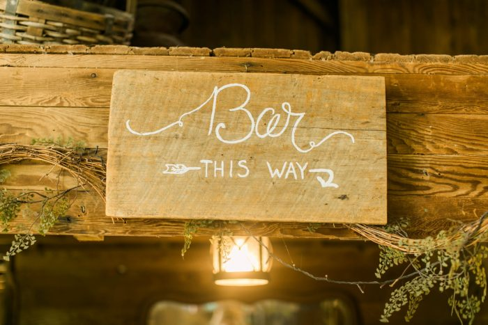 Wooden Bar Wedding Signs: Vintage Rustic Wedding at Shady Elms Farm from Steven Dray Images featured on Burgh Brides