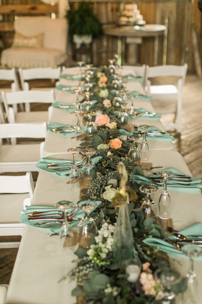 Fresh Greenery Floral Table Runners: Vintage Rustic Wedding at Shady Elms Farm from Steven Dray Images featured on Burgh Brides