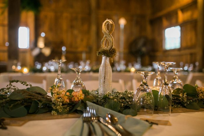 Rustic Wedding Table Numbers: Vintage Rustic Wedding at Shady Elms Farm from Steven Dray Images featured on Burgh Brides