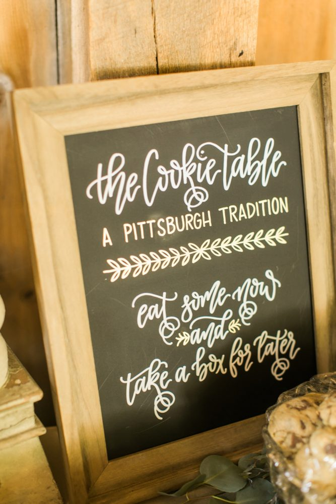 Pittsburgh Cookie Table: Vintage Rustic Wedding at Shady Elms Farm from Steven Dray Images featured on Burgh Brides