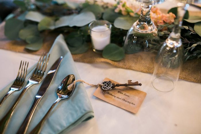 Antique Key Wedding Favors: Vintage Rustic Wedding at Shady Elms Farm from Steven Dray Images featured on Burgh Brides
