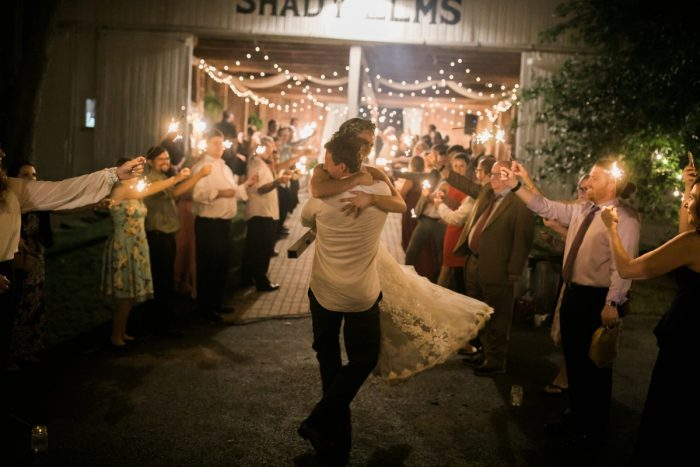 Wedding Sparkler Exit: Vintage Rustic Wedding at Shady Elms Farm from Steven Dray Images featured on Burgh Brides