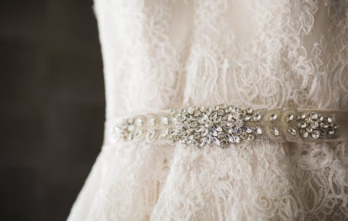 Lace Wedding Dress with Beaded Belt: Berry & Dusty Blue Wedding at the Duquesne Power Center from Tara Bennett Photography featured on Burgh Brides