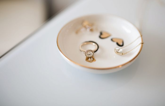 Gold Painted Ring Dish: Berry & Dusty Blue Wedding at the Duquesne Power Center from Tara Bennett Photography featured on Burgh Brides