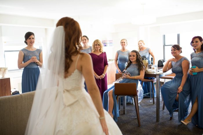 Bridesmaids First Look: Berry & Dusty Blue Wedding at the Duquesne Power Center from Tara Bennett Photography featured on Burgh Brides