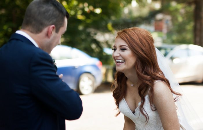 Bride and Groom First Look: Berry & Dusty Blue Wedding at the Duquesne Power Center from Tara Bennett Photography featured on Burgh Brides