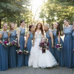Dusty Blue Bridesmaids Dresses: Berry & Dusty Blue Wedding at the Duquesne Power Center from Tara Bennett Photography featured on Burgh Brides