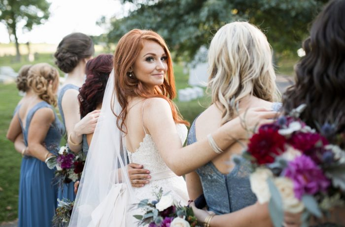 Bridesmaids Portraits: Berry & Dusty Blue Wedding at the Duquesne Power Center from Tara Bennett Photography featured on Burgh Brides