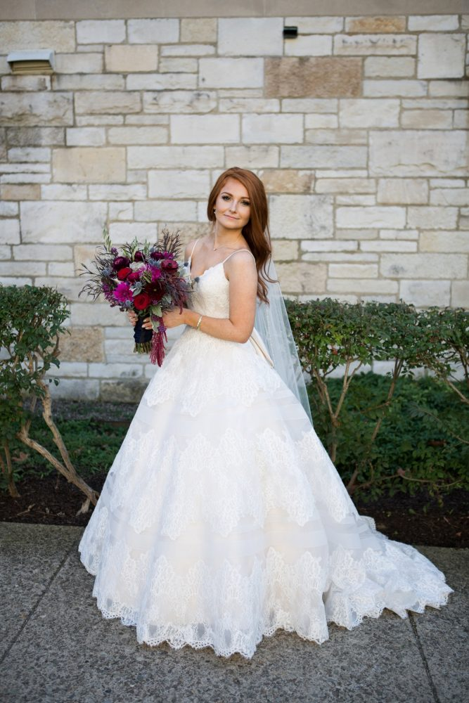 Lace Spaghetti Strap Wedding Dress: Berry & Dusty Blue Wedding at the Duquesne Power Center from Tara Bennett Photography featured on Burgh Brides