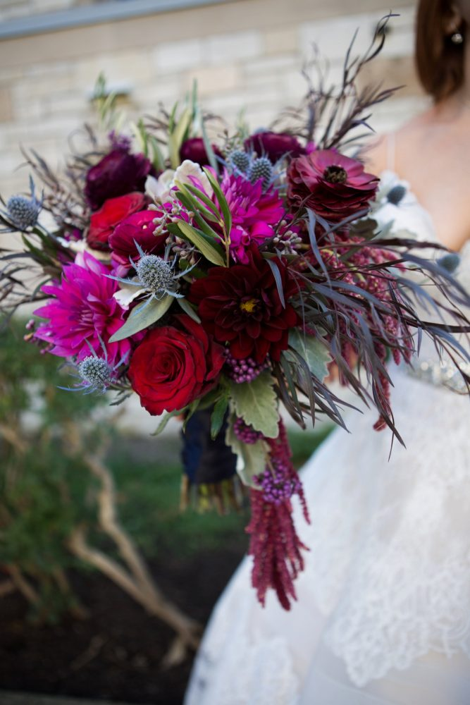 Berry and Blue Wedding Bouquet: Berry & Dusty Blue Wedding at the Duquesne Power Center from Tara Bennett Photography featured on Burgh Brides