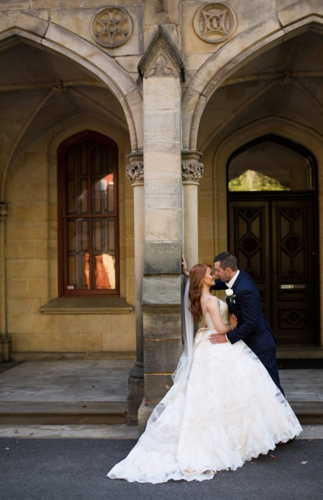 European Inspired Bride and Groom Wedding Day Portraits: Berry & Dusty Blue Wedding at the Duquesne Power Center from Tara Bennett Photography featured on Burgh Brides