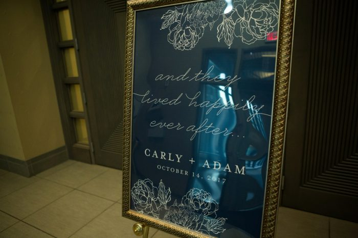 Wedding Welcome Signs: Berry & Dusty Blue Wedding at the Duquesne Power Center from Tara Bennett Photography featured on Burgh Brides