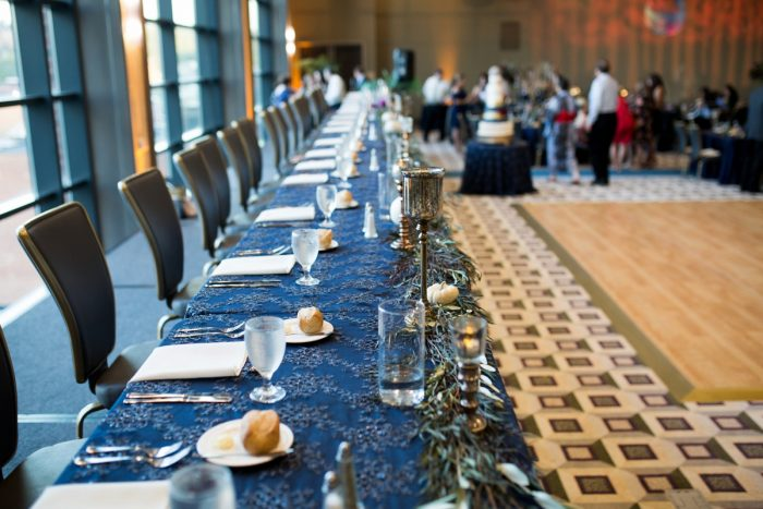 Wedding Head Table Ideas: Berry & Dusty Blue Wedding at the Duquesne Power Center from Tara Bennett Photography featured on Burgh Brides