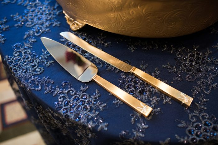 Wedding Cake Knives: Berry & Dusty Blue Wedding at the Duquesne Power Center from Tara Bennett Photography featured on Burgh Brides