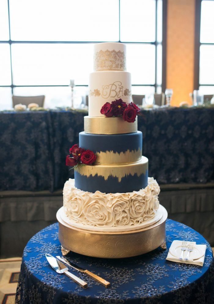 Metallic Gold Wedding Cake: Berry & Dusty Blue Wedding at the Duquesne Power Center from Tara Bennett Photography featured on Burgh Brides