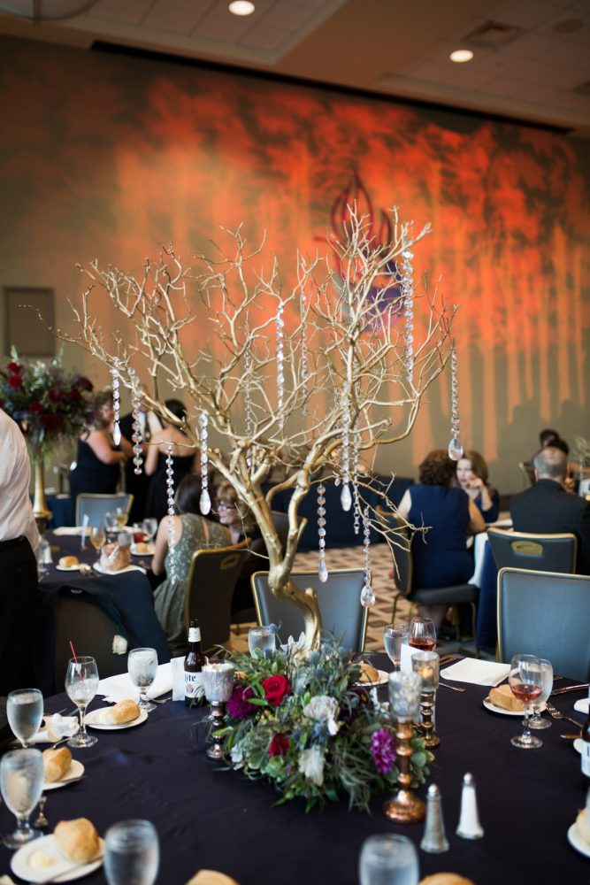 Gold Trees with Hanging Crystals Wedding Centerpieces: Berry & Dusty Blue Wedding at the Duquesne Power Center from Tara Bennett Photography featured on Burgh Brides