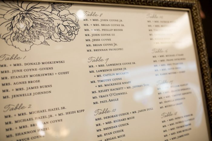Wedding Seating Chart Ideas: Berry & Dusty Blue Wedding at the Duquesne Power Center from Tara Bennett Photography featured on Burgh Brides