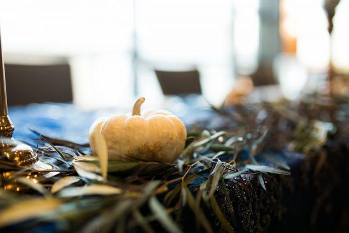 Pumpkin Wedding Decor: Berry & Dusty Blue Wedding at the Duquesne Power Center from Tara Bennett Photography featured on Burgh Brides