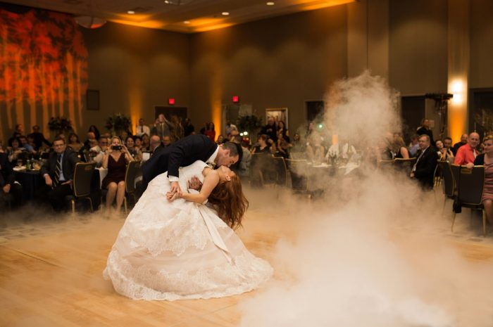 Bride and Groom First Dance: Berry & Dusty Blue Wedding at the Duquesne Power Center from Tara Bennett Photography featured on Burgh Brides