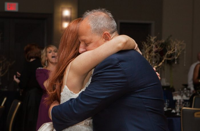 Father Daughter Dance: Berry & Dusty Blue Wedding at the Duquesne Power Center from Tara Bennett Photography featured on Burgh Brides