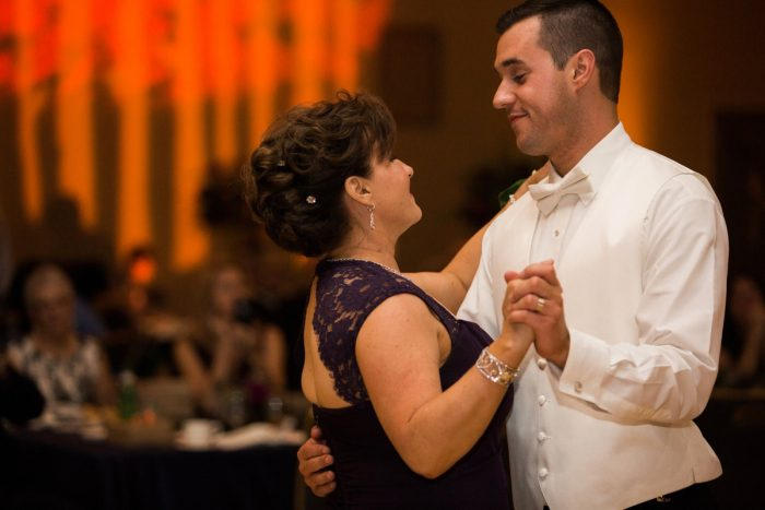 Mother Son Dance: Berry & Dusty Blue Wedding at the Duquesne Power Center from Tara Bennett Photography featured on Burgh Brides