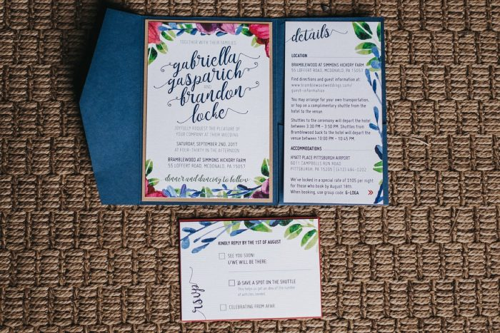 Floral Wedding Invitations: Boho Jewel Tone Wedding at Bramblewood from Tied & True Photography featured on Burgh Brides