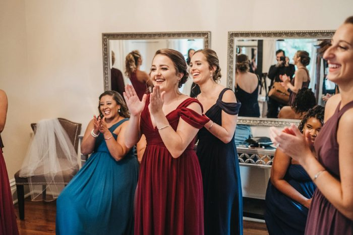 Bridesmaid First Look: Boho Jewel Tone Wedding at Bramblewood from Tied & True Photography featured on Burgh Brides
