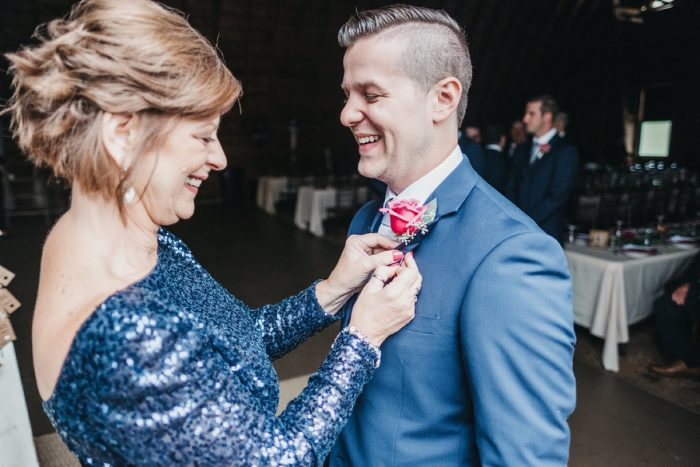 Groom and Mother of Groom on Wedding Day: Boho Jewel Tone Wedding at Bramblewood from Tied & True Photography featured on Burgh Brides