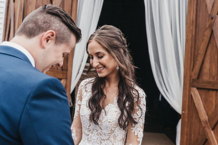 Bride and Groom First Look: Boho Jewel Tone Wedding at Bramblewood from Tied & True Photography featured on Burgh Brides